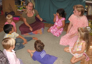Youngest classes beginning Sunday School with rhythm and song
