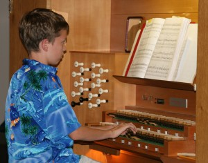 "A young organist played David Schack's ""Prelude."""