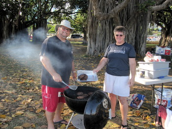 Pastor Jeff at the grill for Pau Hana Friday