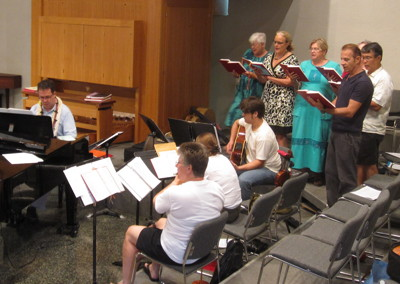 The 8:00 Ensemble leads the music at our early worship service
